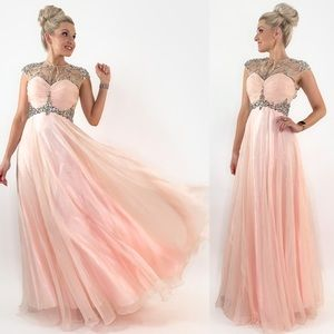 Blush Glam Rhinestone Illusion Pageant Prom Dress